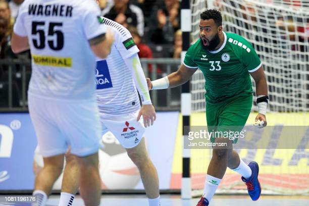 Radnah Adnan of SaudiArabia in action during the IHF Men's World Championships Handball match between Saudi Arabia and Austria in Jyske Bank Boxen on...