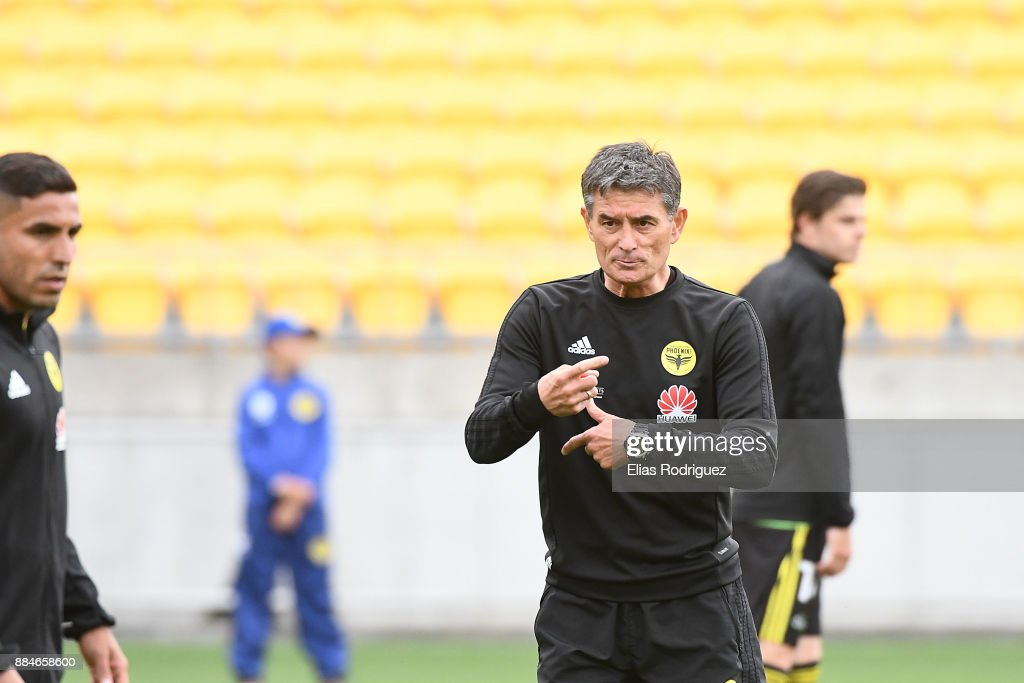 Rado Vidosic warming the team up during the round nine A-League match between the Wellington Phoenix and the Melbourne Victory at Westpac Stadium on December 3, 2017 in Wellington, New Zealand.