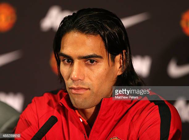 Radomel Falcao of Manchester United speaks during a press conference to announce new signings Radomel Falcao and Daley Blind at Old Trafford on...