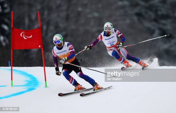 Radomir Dudas of Slovakia competes in the Men's Giant Slalom Visually Impaired during day eight of the Sochi 2014 Paralympic Winter Games at Rosa...