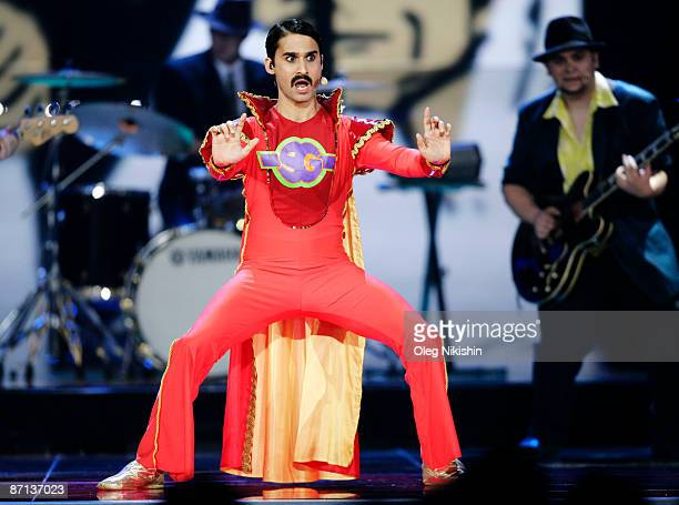 Radoslav 'Gipsy' Banga of the group Gipsycz of the Czech Republic performs during the Eurovision Song Contest 2009 Semi Finals at Olimpiysky Arena on...