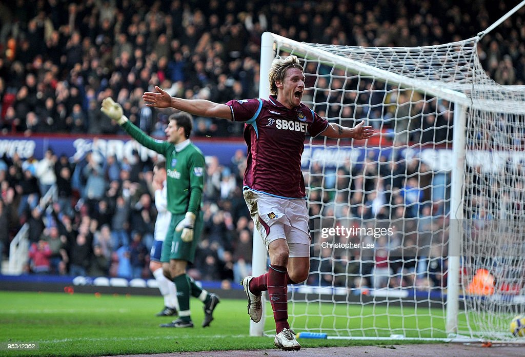 Radoslav Kovac of West Ham United celebrates scoring the second goal during the Barclays Premier League match between West Ham United and Portsmouth at Boleyn Ground on December 26, 2009 in London, England.