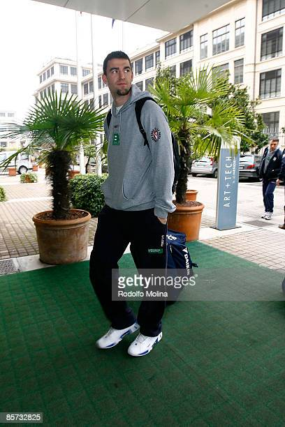 Radoslav Rancik #13 of Benetton Basket Arrival at the Palasport on March 31 2009 in Turin Italy