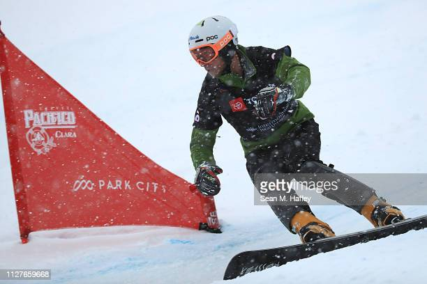 Radoslav Yankov of Bulgaria competes in the round of 16 for Men's Parallel Slalom at the FIS Snowboard World Championships on February 05 2019 at...