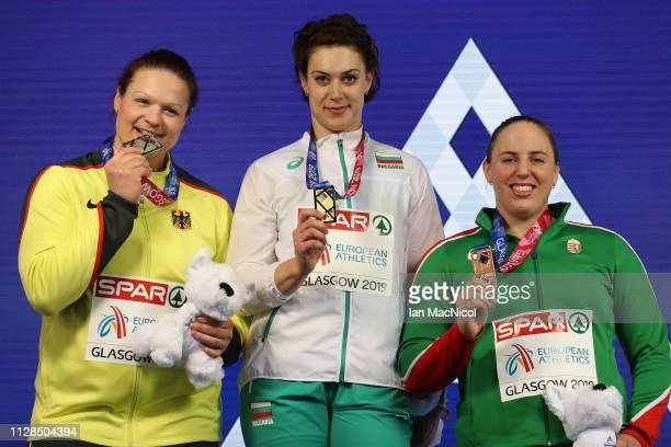 Radoslava Mavrodieva of Bulgaria Christina Schwanitz of Germany and Anita Marton of Hungary with their medals during the medal ceremony for the...