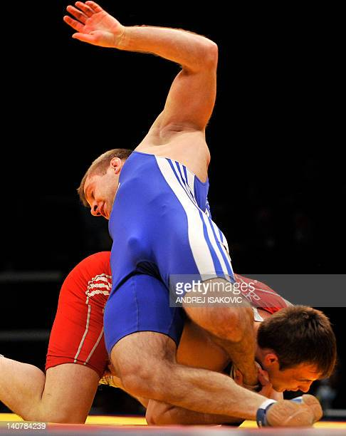 Radoslaw Baran from Poland fights with Ivan Yankouski from Belarus in the finals for the third place of the European Wrestling Championship 96 kg...