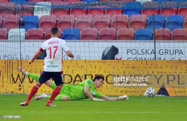 Radoslaw Majecki of Legia Warszawa in action during the PKO Ekstraklasa match between Gornik Zabrze and Legia Warszawa on June 14, 2020 in Zabrze,...