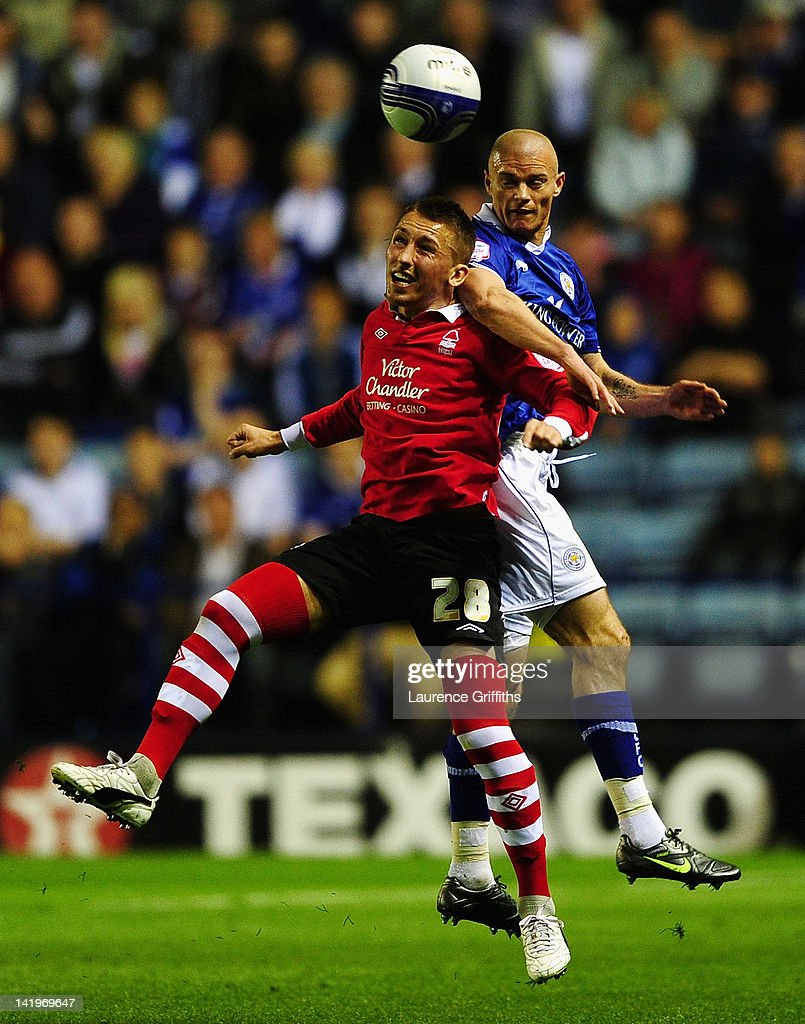 Radoslaw Majewski of Nottingham Forest battles with Paul Konchesky of Leicester City during the npower championship match between Leicester City and Nottingham Forest at The King Power Stadium on March 27, 2012 in Leicester, England.