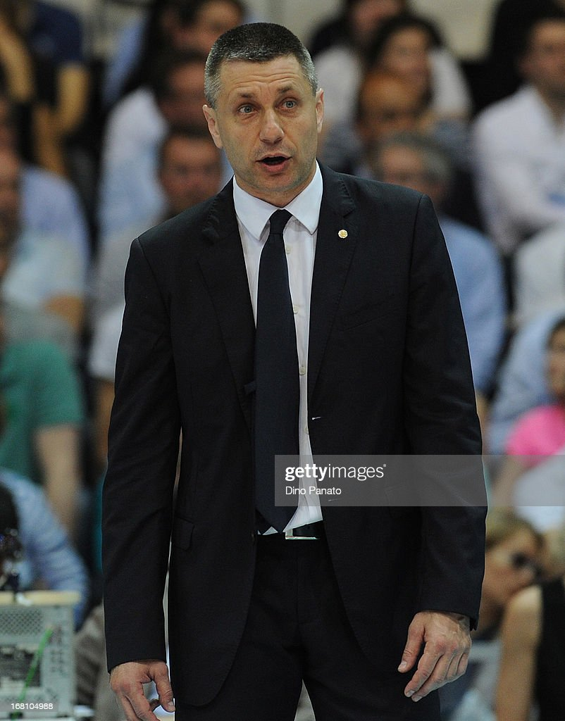 Radostin Stoytchev head coach of Itas Diatec Trentino looks onduring game 4 of Playoffs Finals between Copra Elior Piacenza and Itas Diatec Trentino at Palabanca on May 5, 2013 in Piacenza, Italy.