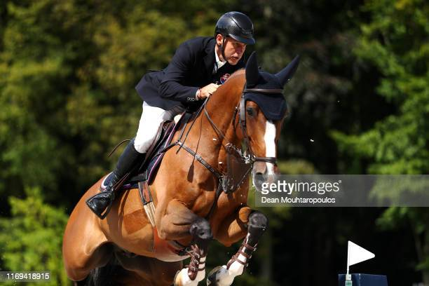 Radovan Sillo of Slovakia riding Durant W competes during Day 3 of the Longines FEI Jumping European Championship speed competition against the clock...