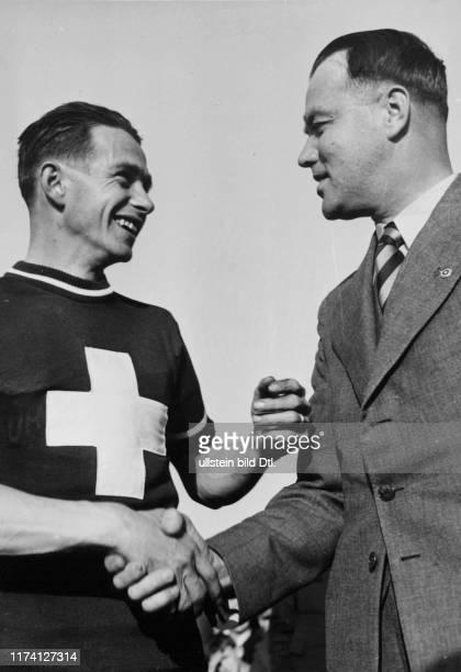 Radquer-Schweizer Meisterschaft 1941: Sieger Alfred Vock und SRB-Präsident Carl Senn
