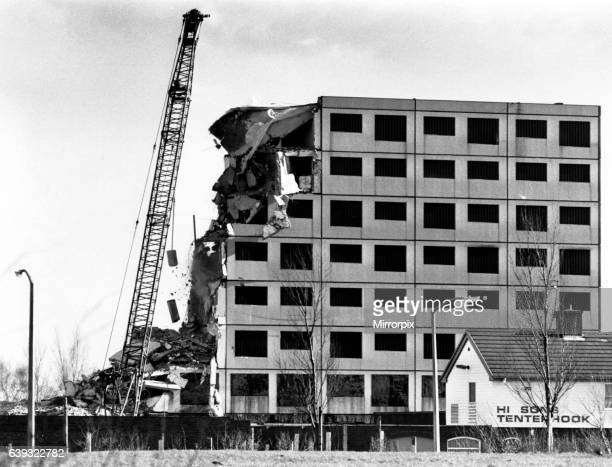 Radshaw Court Flats on the Ravenscourt Estate Kirkby in the process of being demolished 21st February 1989