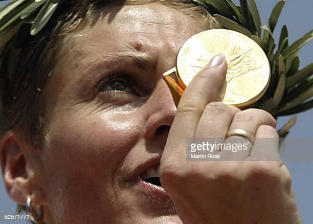 Radsport Olympische Spiele Athen 2004 Athen Mountainbike / Frauen GunnRita DAHLE / NOR / Gold 270804
