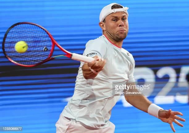 Radu Albot of Moldavia returns a ball during his men's singles first round match against Thiago Monteiro of Brazil on Day 2 of the ATP 250 Belgrade...