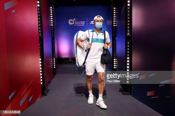 Radu Albot of Moldova arrives for his Men's Singles Semifinals match against Alexander Bublik of Kazakhstan on day six of the Singapore Tennis Open...
