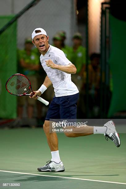 Radu Albot of Moldova celebrates after victory over Teymuraz Gabashvili of Russia in their singles match on Day 2 of the Rio 2016 Olympic Games at...