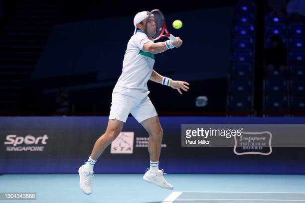 Radu Albot of Moldova plays a forehand in his Men's Singles Semifinals match against Alexander Bublik of Kazakhstan on day six of the Singapore...