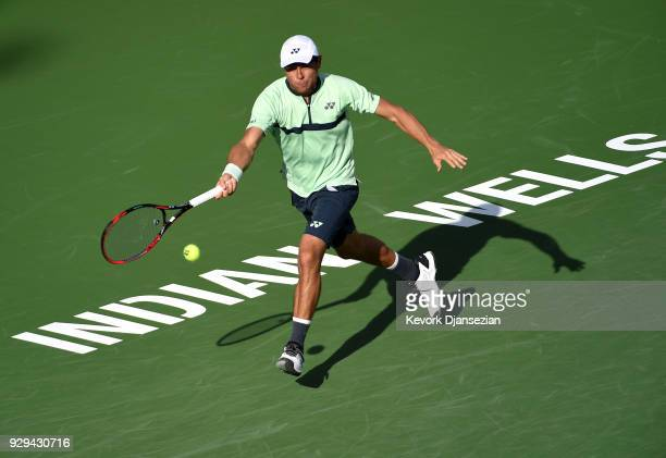 Radu Albot of Moldova returns against Stefanos Tsitsipas of Greece during Day 4 of the BNP Paribas Open on March 8 2018 in Indian Wells California