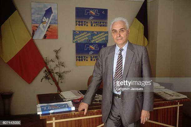 Radu Campeanu leader of the National Liberal Party is campaigning for the 1990 Romanian presidential elections
