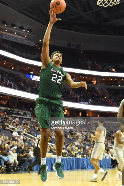 Radwan Bakkali of the Jacksonville Dolphins drives to the basket during a college basketball game against the Georgetown Hoyas at Capitol One Arena...