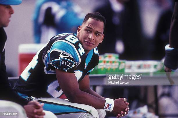 Rae Carruth of the Carolina Panthers during a NFL football game against the Oakland Raiders on November 2 1997 at Ericsson Stadium in Charlotte North...