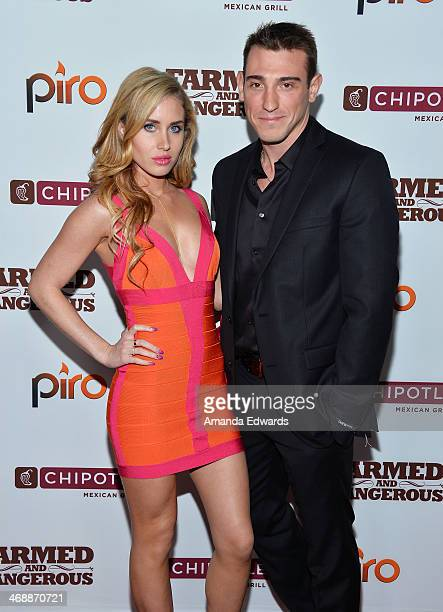 Rae Lauren and editor Ross Baldisserotto arrive at the Chipotle World Premiere of web series 'Farmed And Dangerous' at the DGA Theater on February 11...