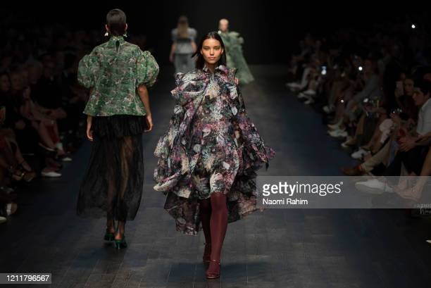 Rae Rodriguez walks the runway in designs by Romance Was Born during Runway 1 at Melbourne Fashion Festival on March 11 2020 in Melbourne Australia
