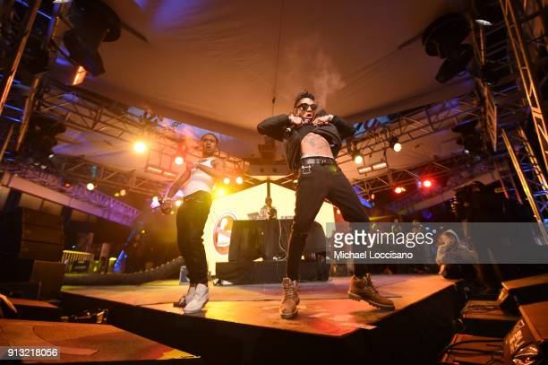Rae Sremmurd performs on the Verizon Up Stage at Super Bowl LIVE presented by Verizon on February 1 2018 in Minneapolis Minnesota