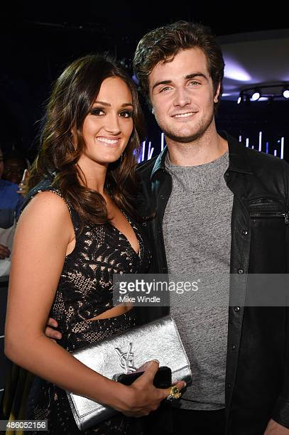 Raeanna Mirchoff and actor Beau Mirchoff pose at The Shelter Pet Project during the 2015 MTV Video Music Awards at Microsoft Theater on August 30...