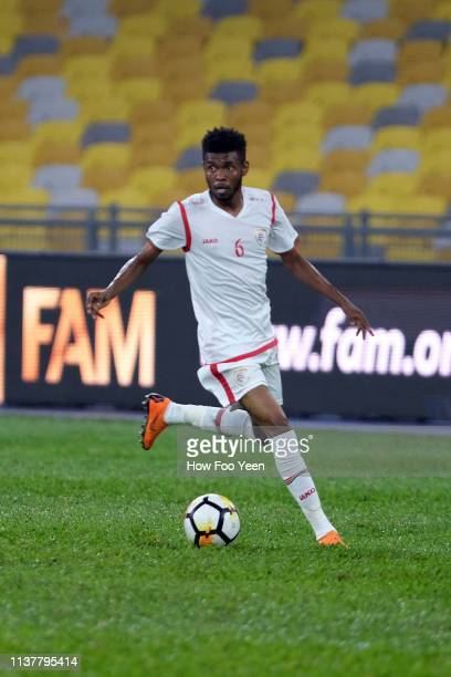 Raed Ibrahim Saleh of Oman in action during the Airmarine Cup final between Singapore and Oman at Bukit Jalil National Stadium on March 23 2019 in...