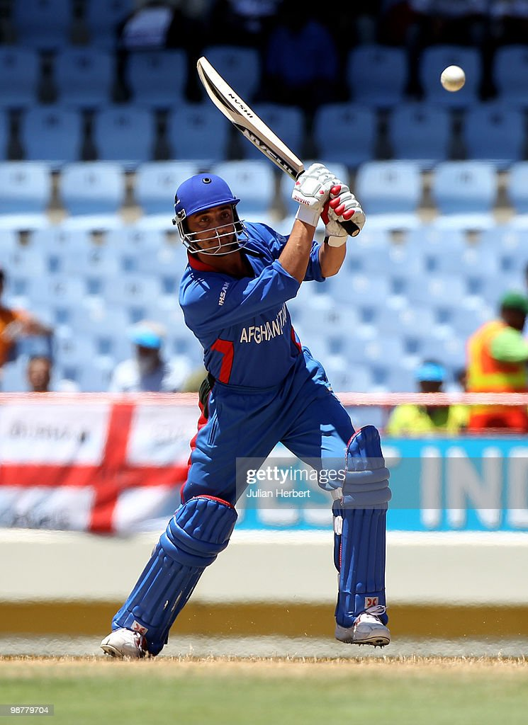 Raees Ahmadzai of Afghanistan scores runs during the ICC World Twenty20 Group A match between India and Afghanistan played at the Beausejour Cricket Ground on May 1, 2010 in Gros Islet, Saint Lucia.
