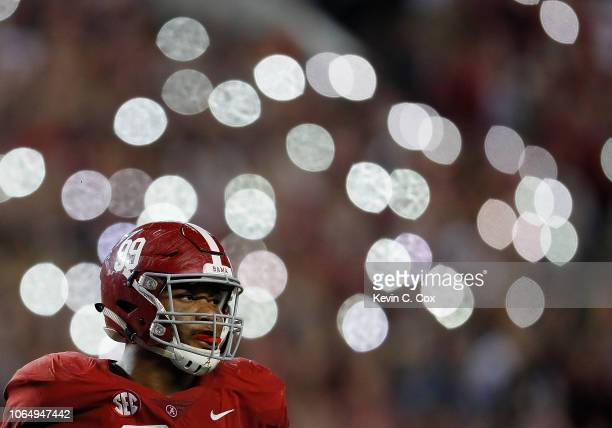 Raekwon Davis of the Alabama Crimson Tide looks on during the game against the Auburn Tigers at Bryant-Denny Stadium on November 24, 2018 in...