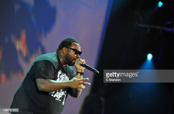 Raekwon performs on stage to celebrate the premiere of IceT's new documentary film Something For Nothing The Art Of Rap at HMV Hammersmith Apollo on...