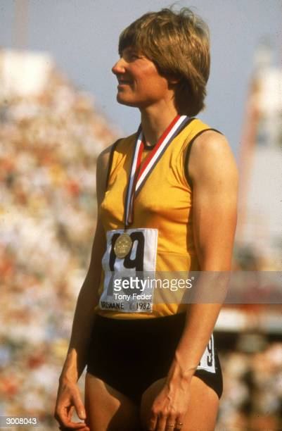 Raelene Boyle of Australia celebrates after winning a gold medal during the 1982 Commonwealth Games held in Brisbane Australia