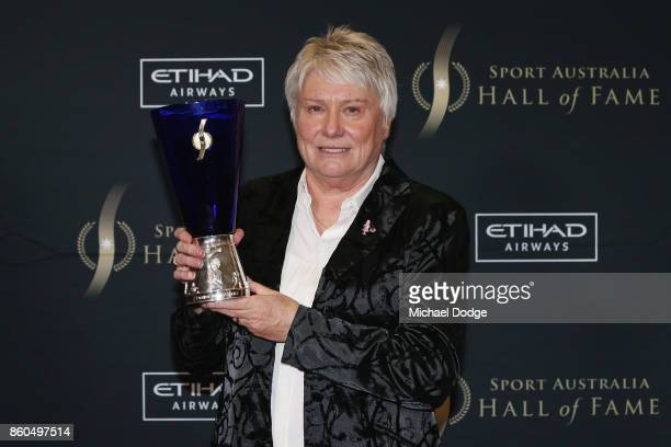 Raelene Boyle poses after being announced The Legend inductee at the Sport Australia Hall of Fame Annual Induction and Awards Gala Dinner at Crown...