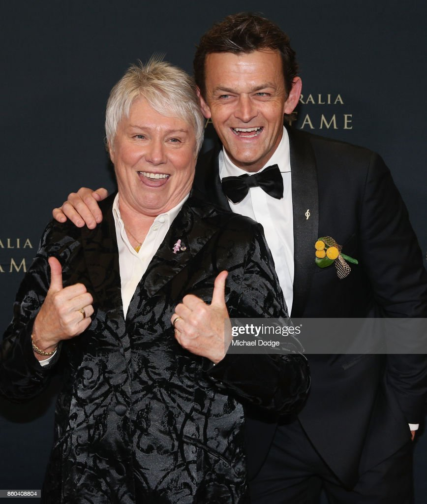 Raelene Boyle poses with Adam Gilchrist at the Sport Australia Hall of Fame Annual Induction and Awards Gala Dinner at Crown Palladium on October 12, 2017 in Melbourne, Australia.