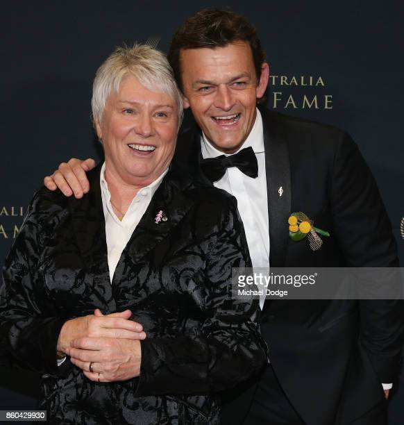 Raelene Boyle poses with Adam Gilchrist at the Sport Australia Hall of Fame Annual Induction and Awards Gala Dinner at Crown Palladium on October 12...