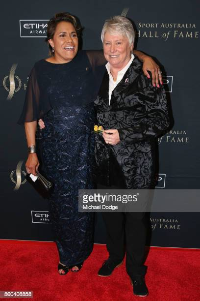Raelene Boyle poses with Cathy Freeman at the Sport Australia Hall of Fame Annual Induction and Awards Gala Dinner at Crown Palladium on October 12...