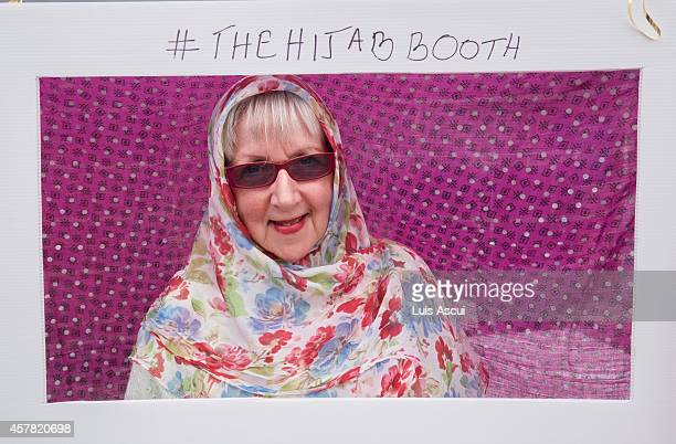 Raelene Cameron poses in a Hijab booth on National Mosque open day at the Werribee Islamic Centre in the suburb of Hoppers Crossing on October 25...