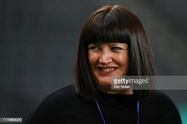 Raelene Castle Chief Executive Officer of Rugby Australia attends the Australian Wallabies Captain's Run ahead of their opening game against Fiji at...