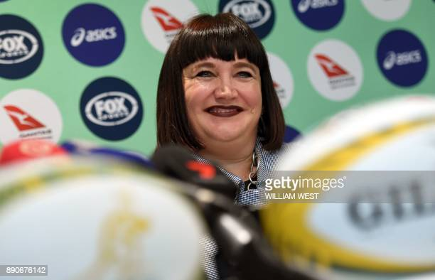 TOPSHOT Raelene Castle speaks during a press conference after becoming Rugby Australia's new chief executive making her the first woman to ever...