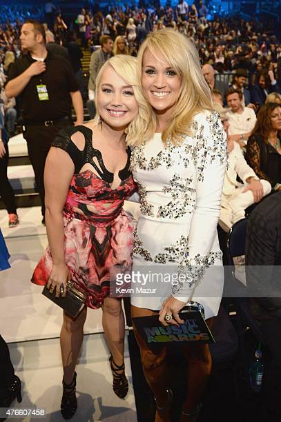 RaeLynn and Carrie Underwood attend the 2015 CMT Music awards at the Bridgestone Arena on June 10 2015 in Nashville Tennessee