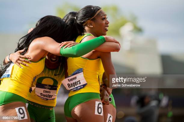 Raevyn Rogers Makenzie Dunmore Deajah Stevens and Alexis Guster of the University of Oregon celebrates their victory in the 4x400 meter relay during...