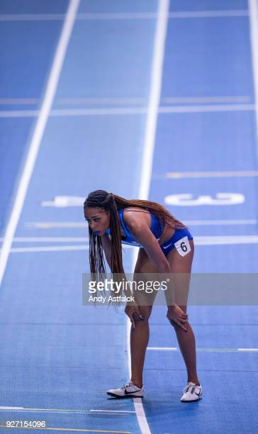 Raevyn Rogers of the USA after the Women's 800m Final on Day 4 of the IAAF World Indoor Championships at Arena Birmingham on March 4 2018 in...