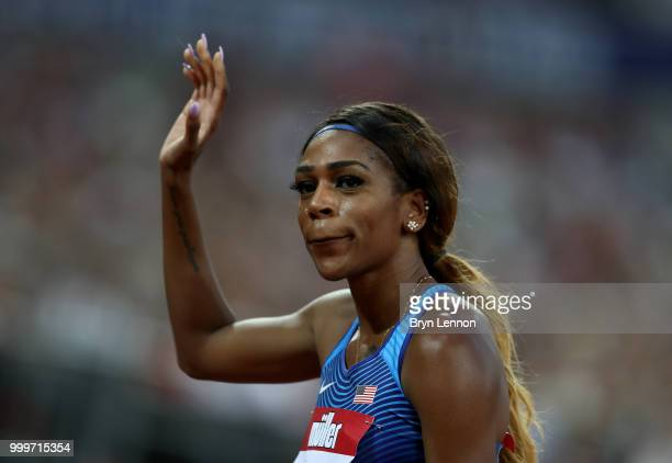 Raevyn Rogers of the USA celebrates winning the Women's 800m during day two of the Athletics World Cup London at the London Stadium on July 15 2018...