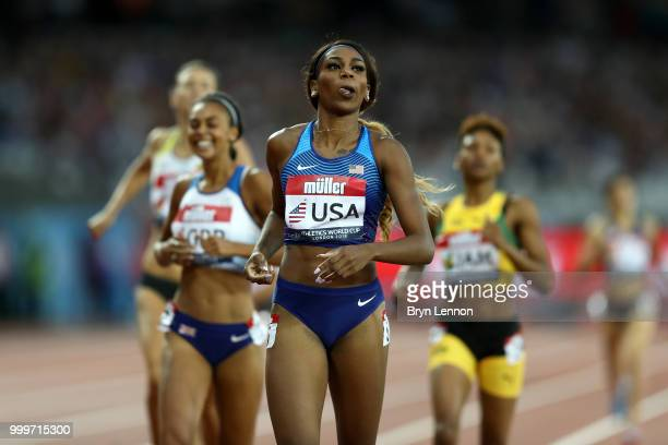 Raevyn Rogers of the USA crosses the line to win the Women's 800m during day two of the Athletics World Cup London at the London Stadium on July 15...