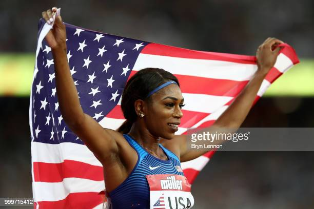 Raevyn Rogers of the USA poses for a photo after winning the Women's 800m during day two of the Athletics World Cup London at the London Stadium on...
