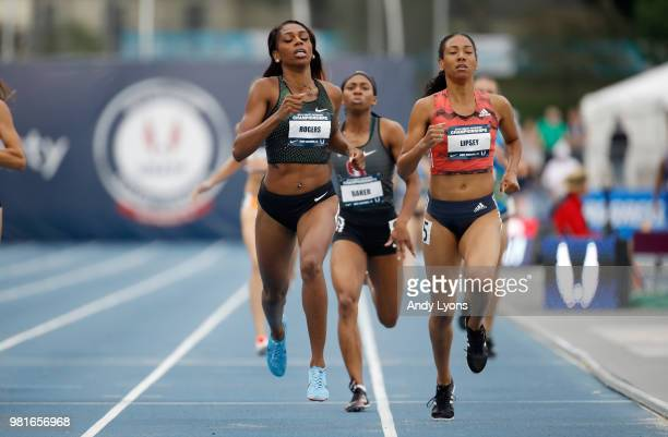 Raevyn Rogers runs to victory in the semifinals of the Womens 800 Meter during day 2 of the 2018 USATF Outdoor Championships at Drake Stadium on June...