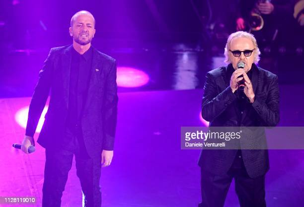Raf and Tozzi on stage during the third night of the 69th Sanremo Music Festival at Teatro Ariston on February 07 2019 in Sanremo Italy