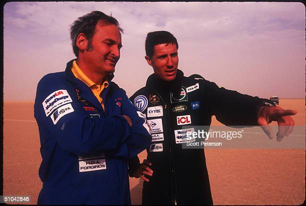 Raf Lt Andy Green Talks With Current Record Holder Richard Noble November 16 1996 On The AlJafr Desert In Jordan Green Will Attempt To Break The...